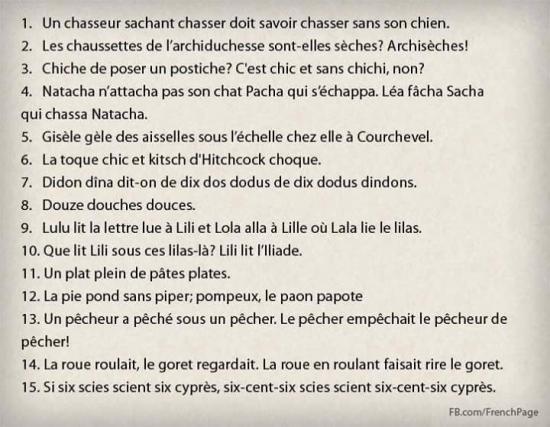 Les virelangues français